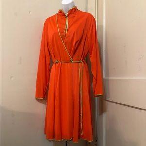 Vtg 1970s Robe & nightshirt set Orange & Green
